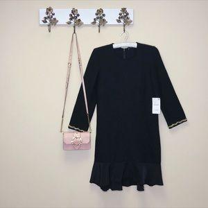 NWT Zara Black Dress Gold Chain Accents